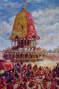 Throughout the Ratha-yatra parade, the chariot would stop and start as if it had a will of its own. Once, when even strong elephants failed to budge the chariot, Sri Caitanya Mahaprabhu got it rolling by pushing it with His head.