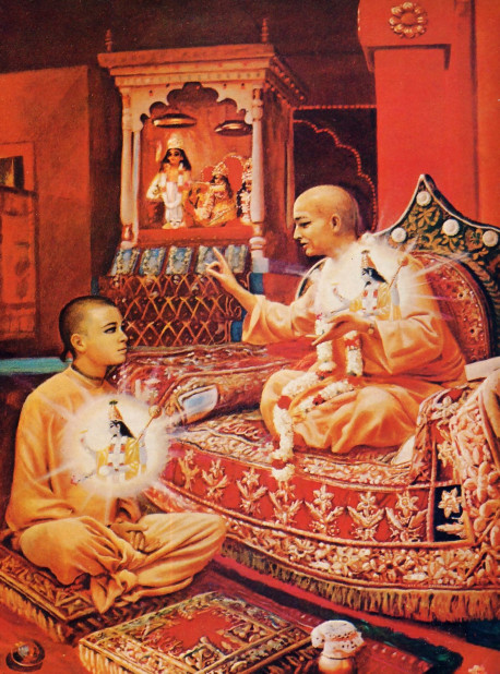 When a disciple hears from his spiritual master about the science of Krsna consciousness, it is not a whimsical exchange. A bona fide spiritual master has in turn heard from his own guru in an age-old chain of disciplic succession. And the message of the disciplic succession is confirmed by the Supersoul, a manifestation of Krsna who is present in the heart of both the spiritual master and the disciple.