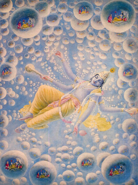 When Lord Maha-Visnu, a plenary expansion of Lord Krsna, exhales, innumerable universes emanate from Him. Within each of these universes Maha-Visnu expands Himself as Garbhodakasayi Visnu and lies down on the water that fills half of each universal shell. We can hardly imagine the greatness of Maha-Visnu since according to Srimad-Bhagavatam the smallest of the universes is four billion miles in diameter.