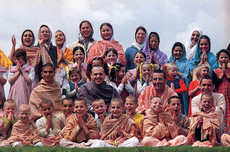 Students and teachers at the Hare Krsna school near Valencay, France.