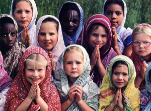 Girls at the gurukula in Lake Huntington study, play, and worship together in a community fully dedicated to Lord Krsna.