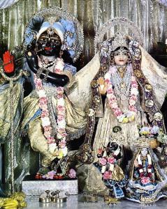 Sri Sri Radha-Kalachandji, preside over the community of devotees.