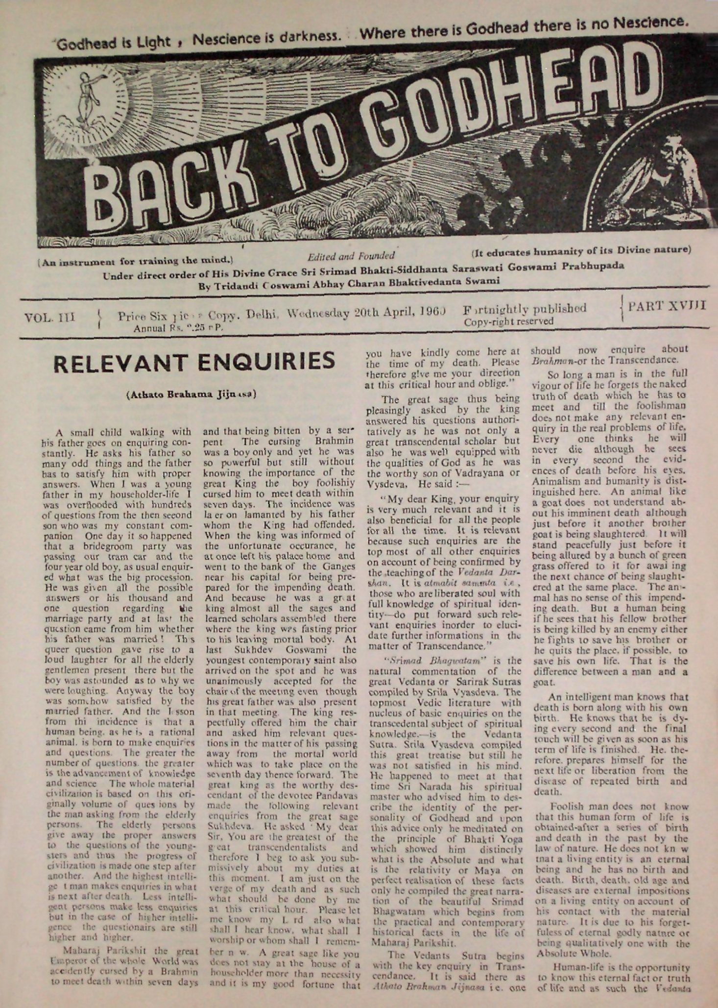 Back to Godhead Vol 03 Part 18, 1960 PDF Download | Back to