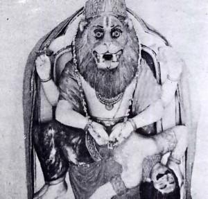 NRISHINGHA DEVA, THE HALF-LION HALF-MAN DEITY AT A TEMPLE IN RISHIKESH.