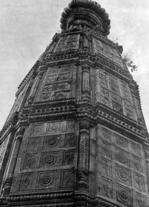 Looking up at the tower of Madan Mohan Temple.