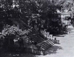The spot known as Visram Ghat, the sacred area where Krishna came to rest after killing the demon King Kamsa. It is a square area, with four giant staircases leading down to a square pool in the middle. The walls from the pool are honeycombed with many staircases, passages and archways, with great old trees over hanging the world.