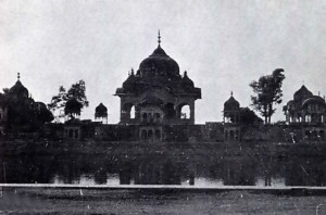 An old palace at the foot of Goverdhan Hill.