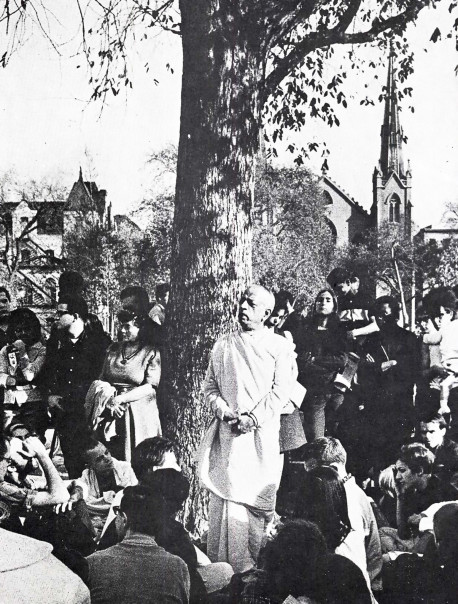 A.C. Bhaktivedanta Swami Prabhupada speaking at a Kirtan in Tompkins Square Park, October 1966, Courtesy EVO.