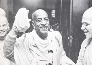 Prabhupada arriving from London with the mahamantra, at Logan Airport, Boston