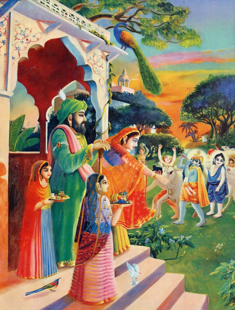 "Krsna and His cowherd friends are seen returning at senset after a day of tending the cows, playing, and killing great demons sent by Krsna's enemy Kamsa. Mother Yasoda and Krsna's father are greating him at the door. In the Nectar of Devotion by His Divine Grace A.C. Bhaktivedanta Swami Prabhupada, Nanda, Krsna's father, is quoted as saying, ""My dear Yasoda, just look at your offspring Krsna. See his blackish bodily luster, His eyes tinged with red color, His broad chest and He is increasing my transcendental pleasure more and more!"""
