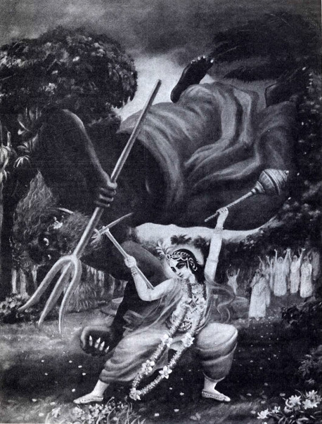 The Liberation of Balvada. Balvada, a powerful and mischievous demon who used to persecute great saints and sages, was killed by Lord Balarama, the elder brother of Lord Krsna, at the request of the sages of Naimisaranya. This is an illustration from Volume Two of Krsna, the Supreme Personality of Godhead, by His Divine Grace A.C. Bhaktivedanta Swami Prabhupada.
