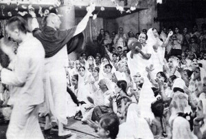 Srila Prabhupada and devotees hold sankirtana exactly as taught by Lord Caitanya.