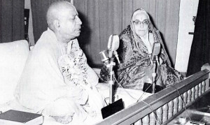 Srila Prabhupada with leading Indian industrialist Srimati Sumati Morarji, whose Scinda Steamship Lines first financed Srila Prabhupada's journey to the U.S.A. in 1965
