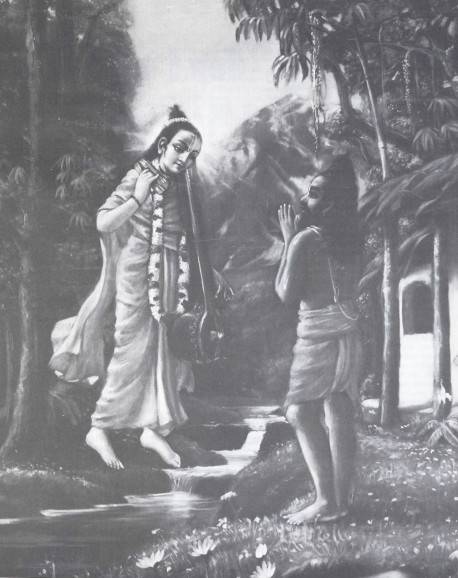 "The great sage Narada Muni appearing before his disciple Vyasadeva, the compiler of the Vedas, to offer him enlightenment ""...just the mention of the names of these great personalities is enough to bring great pleasure..."""