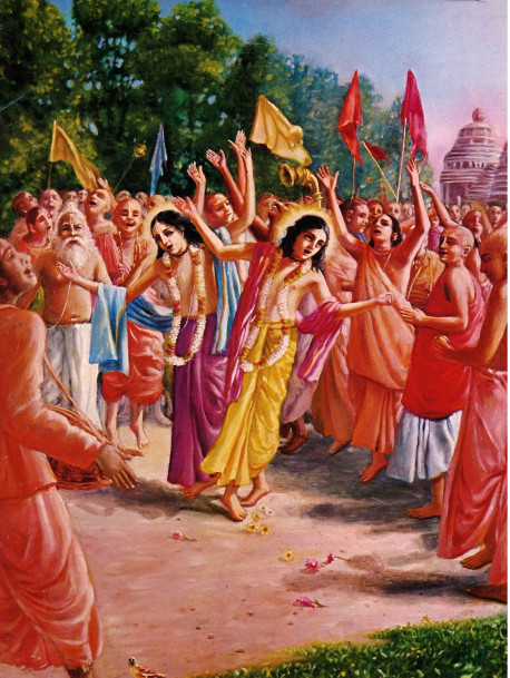 To develop and express love of Godhead, one should adopt the simple method taught by Lord Caitanya Mahaprabhu (center, right) by chanting the holy names of the Lord - Hare Krsna, Hare Krsna, Krsna Krsna, Hare Hare / Hare Rama, Hare Rama, Rama Rama, Hare Hare.