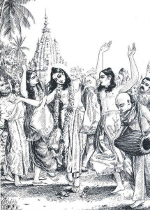 Lord Caitanya Mahaprabhu (center), father of the sankirtana movement, celebrating the chanting of the holy name.