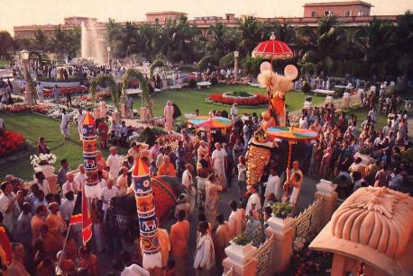 A weekly Sunday procession creates a festive mood.