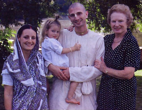 Rohininandana dasa, Radhapriya-devi dasi and their son Radhanatha, and his mother, Pamela Housden, a Herefordshire district councilor and former mayor of Leominster.