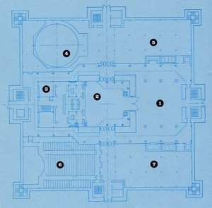 The main floor of the Temple: 1) Lobby 2) Kirtana Hall 3) Altars and Deity rooms 4) Planetarium 5) The Lord Has Form exhibit 6) Vedic Science Hall 7) Exhibition Hall.