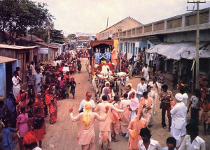 The pada-yatra procession is rolling through more than three hundred villages like the one above, reminding South Indians of Lord Caitanya's travels in these same places some twenty generations ago.