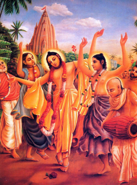 """When the eastern horizon became tinged with the redness that heralds the rising of the sun, the jewel among the brahmanas, Lord Caitanya, immediately awakened. Taking His devotees with Him, He journeyed through the towns and villages of Nadia. The mrdanga drums resounded and the hand cymbals played in time. Lord Caitanya's golden form slightly trembled in ecstatic love of Godhead, and His footbells jingled. Lord Caitanya called out to the townsfolk, """"You spend your nights uselessly sleeping and your days decorating your bodies! Now just sing the holy names without offense. You have achieved this rare human body. Don't you care for this gift? If you do not worship the darling of mother Yasoda now, then great sorrow awaits you at death. With every rising and setting of the sun, a day passes and is lost. Why then do you remain idle and not serve Krsna, the Lord of the heart? You should understand this essential fact: Life is temporary and filled with miseries. Therefore carefully take shelter of the holy name and remain always engaged in His service. Desiring to bless all living beings, this sweet name of Krsna has descended to this material universe and shines like the sun in the sky of the heart, destroying the darkness of ignorance."""" Arunodaya-kirtana, by Srila Bhaktivinoda Thakura)"""
