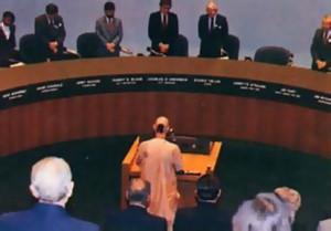 Dallas city council members listen t o Srila Tamal Krishna Goswami Gurudeva.