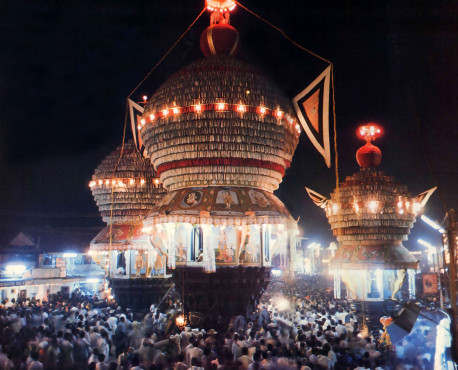 Evening parades are on exciting part of life in Udupi. Devotees of Krsna pull chariots carrying the Deity forms of the Lord along a quadrangular route called Car Street