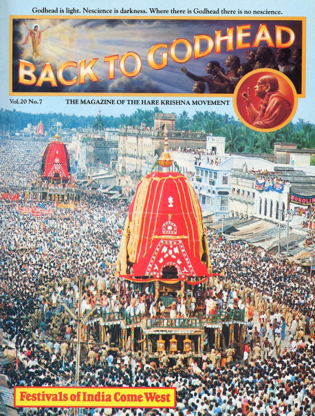 Hundreds of thousands of eager pilgrims annually flock to the ancient Ratha-yatra parade in Puri, India. Ratha-yatra and other Indian festivals are now celebrated in the West as a result of the Hare Krsna movement's efforts to unite India's spirirual culture with the West 's technological know-how.