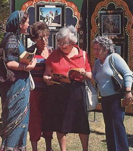 A devotee hands out literature to the curious.