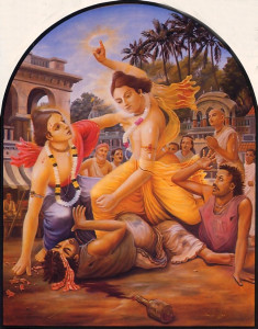 Seeing Lord Caitanya flushed with anger, His disc weapon raised above His head, Lord Nityananda intervened and begged Him not to kill the two debauched brothers.