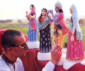 The holy land of Mayapur, with its verdant fields, forms the backdrop for figurines of Lord Krsna and the cowherd girls to receive finishing touches of paint from Anakadundubhi dasa, the art director for the Mayapur Project