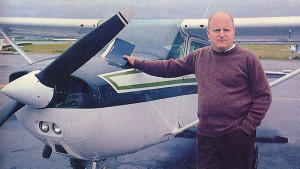 Minding temple affairs, Bahudaka dasa travels in his plane from the Hare Krsna center in Vancouver (opposite page) to the center's farm, 140 miles by air straight across the mountains.