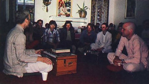The guests attending an evening class on the Bhagavad-gita As It Is at the down town Yoga Center