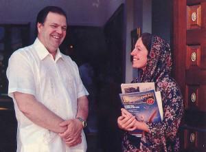 Elwood N. Veitch, legislative executor and education secretary, talks with Harilila dasi