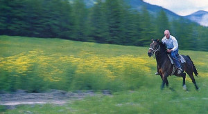 It's the Saranagati pony express, as horse and rider speed across the farm.