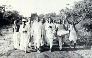 The ISKCON pilgrims perform sankirtana, the congregational chanting of the Hare Krsna mantra, as they travel on the simple country roads in South India, here near Madurai in Tamil Nadu.