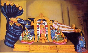 During Lord Caitanya's visit to the South Indian city of Sri Rangam, He was always seen chanting Krsna's holy names and dancing. In the painting at left the Lord enters the main temple to dance in ecstatic love of God before the Deity of Lord Ranganatha.