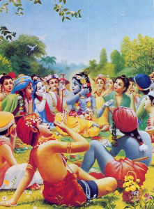 Krishna, theorignal person, is no less a person than we are. Most religions teach us to respect God as the almighty father, the awe-inspiring Supreme Lord. But we overlook His true greatness and power if we ignore that He can relate to His devotees in various loving relationships. He enjoys lunching with His friends