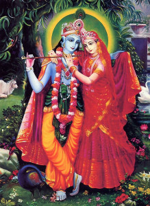embracing His eternal consort, Srimati Radharani.