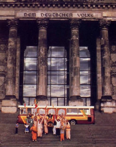 The Spiritual Skyliner, a custom-made mobile temple, makes tours into the city from West Germany; here it's parked at the Reichstag Museum