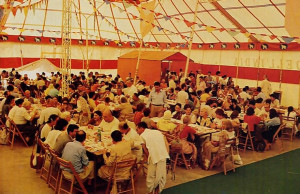 Inside a colorful tent at Villa Vrndavana, near Florence, conference delegates from ltalian animal-rights organizations enjoy sumptuous krsna-prasadam, vegetarian food offered to Lord Krsna.