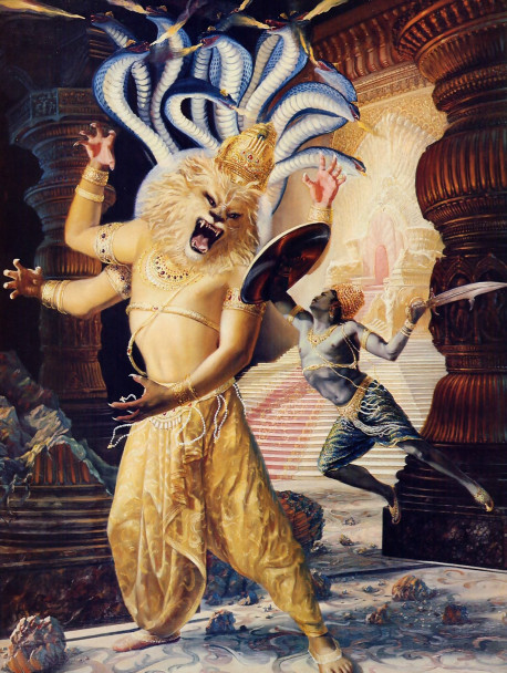 The magnificent prowess of Lord Nrsimha overwhelms the demoniac king Hiranyakasipu. Although the Supreme Lord is not obliged to personally come and fight in hand-to-hand combat to defend His own interests, still He enjoys the sport of a good fight. He is the original person, and all personal attributes originate in Him. Thus chivalry and anger are present in the Supreme Lord's personality, and these qualities are seen as He chastises Hiranyakasipu.