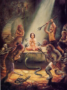 Child abuse of the most severe type. Hiranyakasipu attempted to kill his own son, yet the boy was saved by the will of the Supreme Lord. Although Prahlada was innocent of any wrongdoing, he never became angry or bitter, but simply prayed to Lord Krsna in all circumstances.