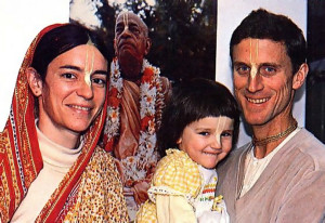 Visakha-devi dasi, Yadubara dasa, and their daughter, Amrta dasi, at their home in New Vrindaban, West Virginia.