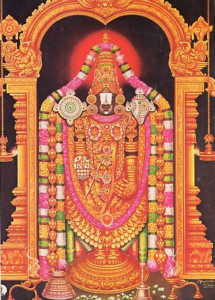 Lord Vyenkatesavara (Balaji), the four-handed Visnu Deity, who receives elaborate worship at Tirumala.