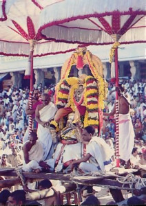 Brahma-mahotsava, Tirupati's most popular festival, attracts tens of thousand s of pilgrims. The festival runs for fourteen days in the early fall, celebrating the Lord's appearance in Tirupati many millennia ago. During the festival a special small Deity - the original Deity of Lord Vyenkatesvara is eight feet tall - goes on procession twice each day. The Deity rides in one of a dozen conveyances, which are either pulled or carried by His devotees.