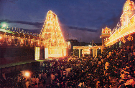 Thousands of pilgrims await the appearance of the professional Deity during one of Tirumala's numerous festivals.