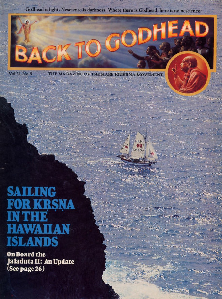 The Jaladuta II, the Hare Krsna movement's fifty-three-foot teakwood ketch, rounds Makapuu Point on the Hawaiian Island of Oahu and heads northwest toward Kaneoke Bay, where guests will board for a transcendental day of singing, feasting, and sailing adventure.