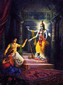Dispelling the darkness of Kamsa's prison, Krsna appears before Vasudeva and Devaki, first as four-armed Visnu and then as an ordinary child
