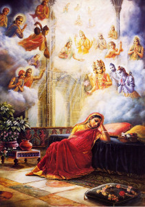 The demigods invisibly enter the palace to offer prayers to Lord Krsna, present within Devaki's womb.